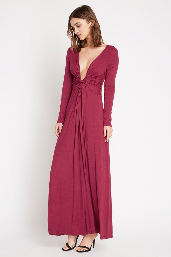 Poshsquare Dress S / Wine Brett Twist Front Maxi Dress