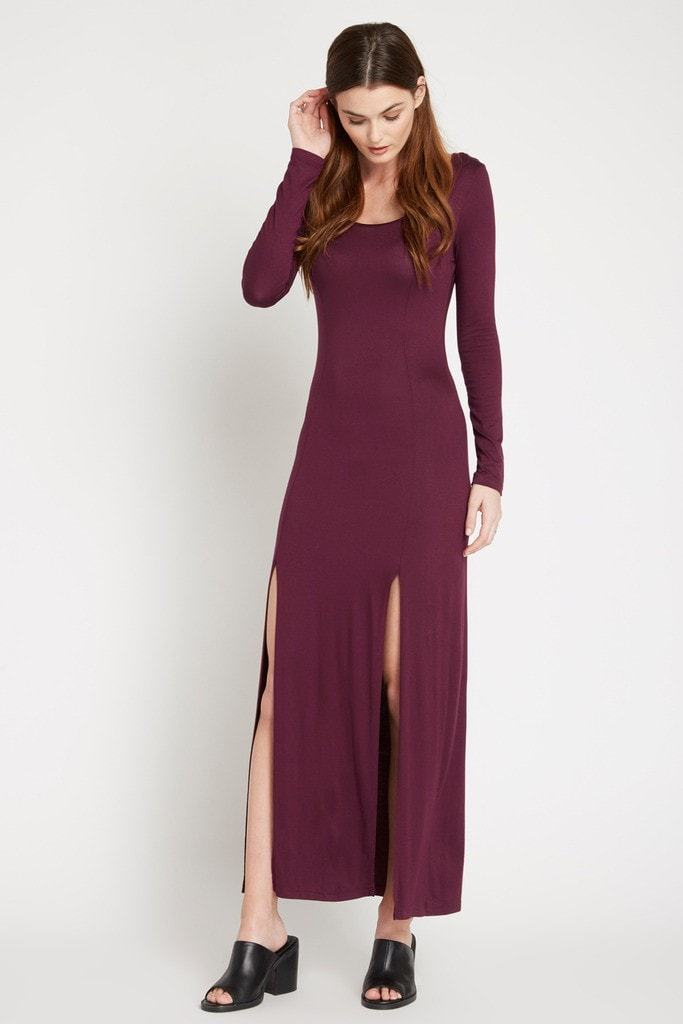 Poshsquare Dress S / Wine Wine Maddie Slit Maxi Dress