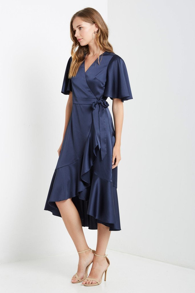 Poshsquare Dress Satin Wrap Midi Dress