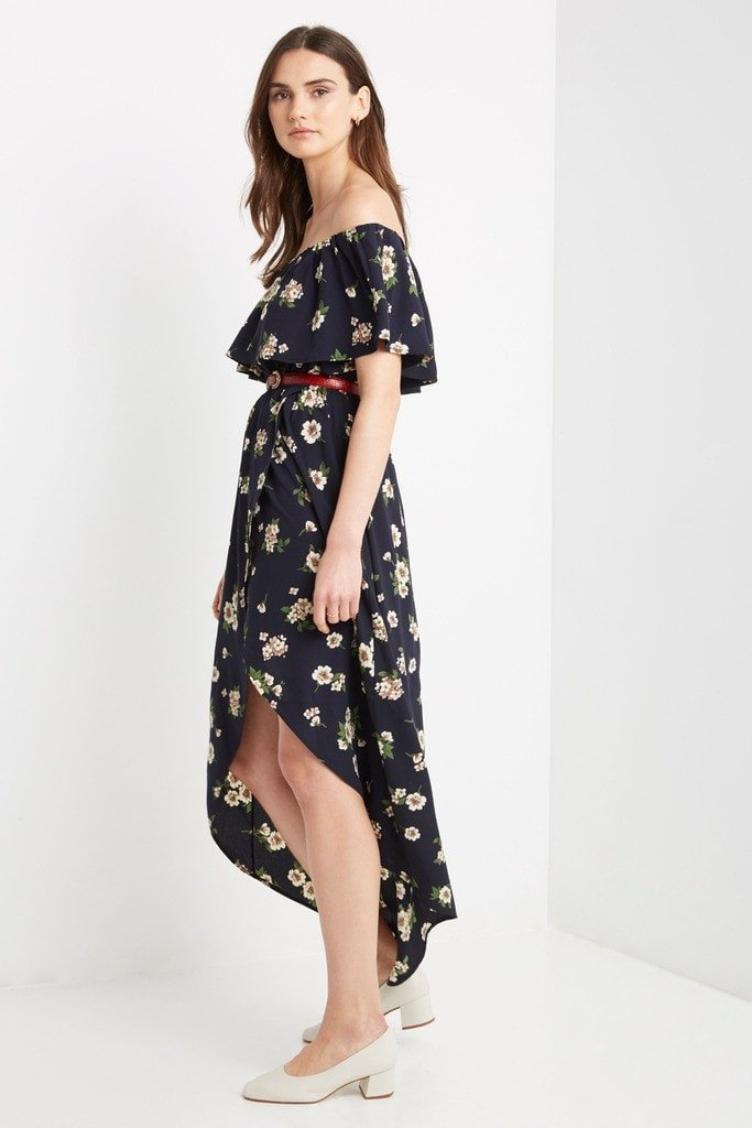 Poshsquare Dress Seville Floral Off the Shoulder Midi Dress