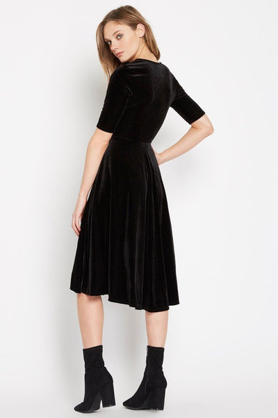 Swept Away Velvet Fit And Flare Midi Dress
