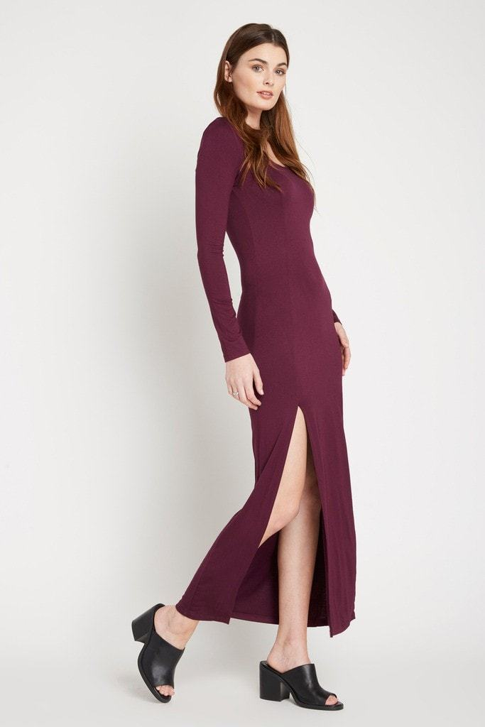 Poshsquare Dress Wine Maddie Slit Maxi Dress