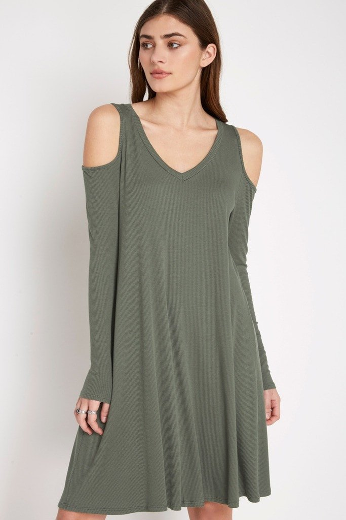 Poshsquare Dress XS / Army Green Casulty Cold Shoulder Swing Dress