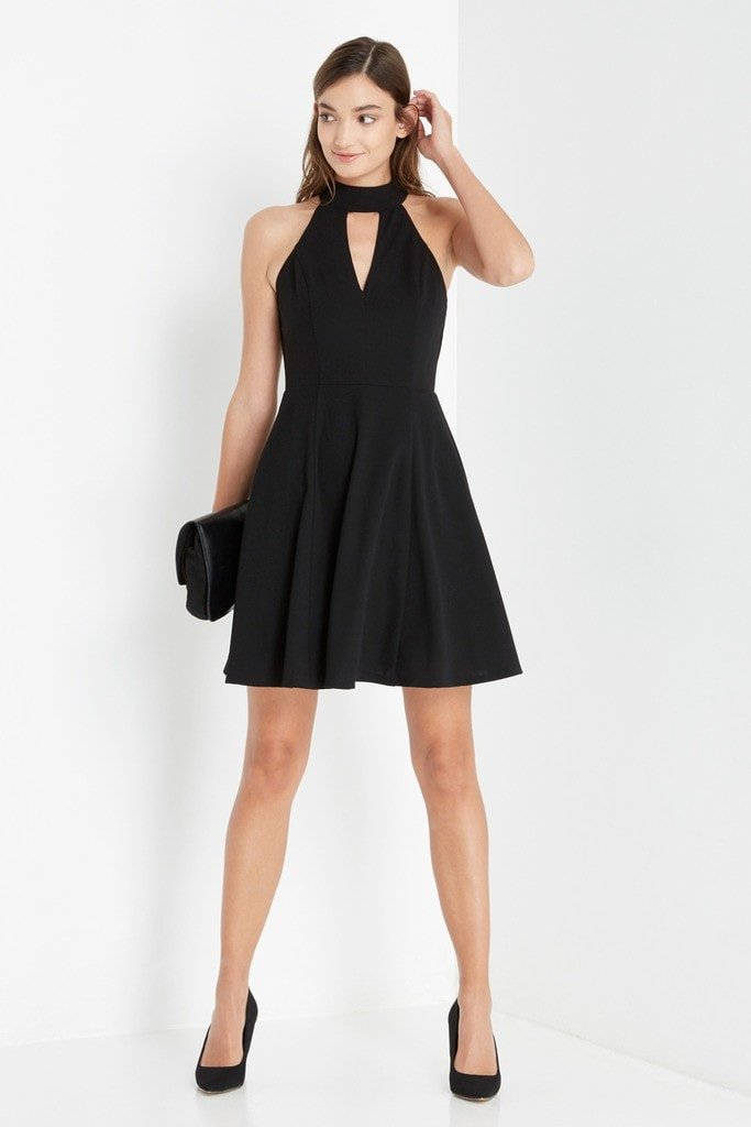 Poshsquare Dress XS / Black Black Moden Fit and Flare