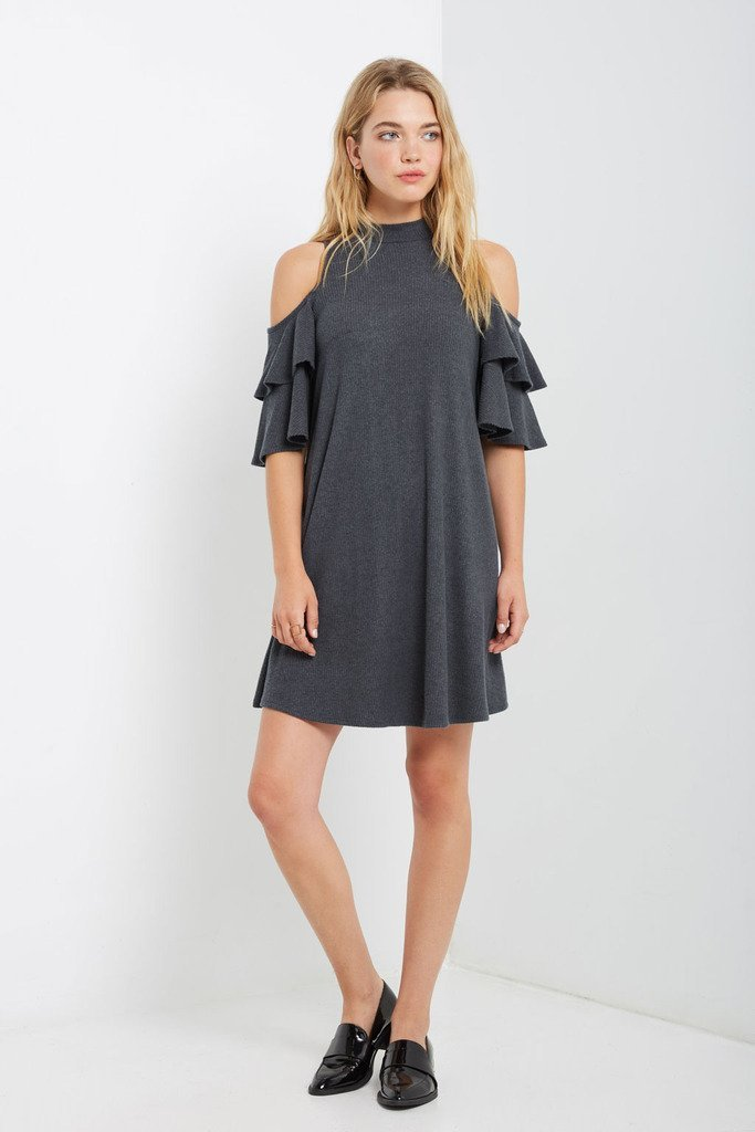 Poshsquare Dress Reagan Cold Shoulder Sweater Swing Dress