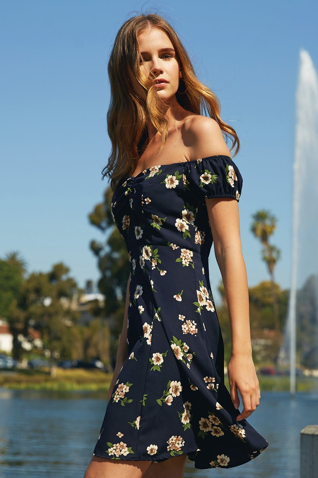 Poshsquare Dress XS / Navy Floral Lina Floral Off the Shoulder Fit and Flare Dress