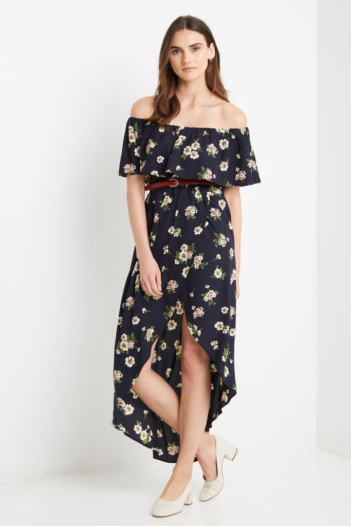 Poshsquare Dress XS / Navy Floral Seville Floral Off the Shoulder Midi Dress