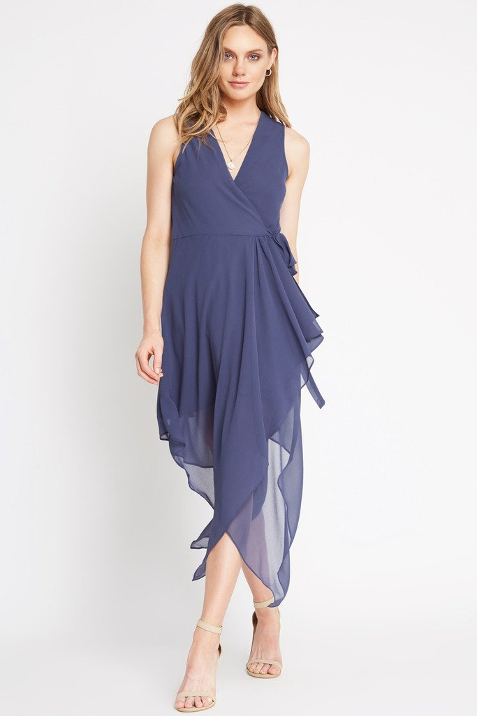 Poshsquare Dress XS / Navy Foxtrot Chiffon Handkerchief Dress