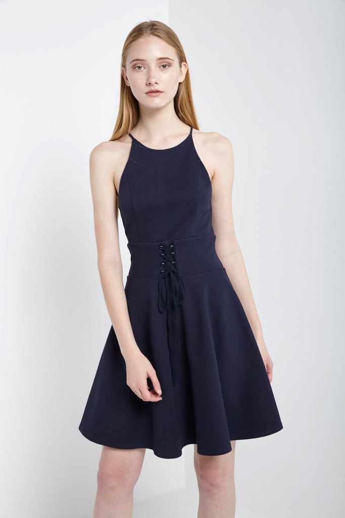 Poshsquare Dress XS / Navy Lace-Up Halter Dress