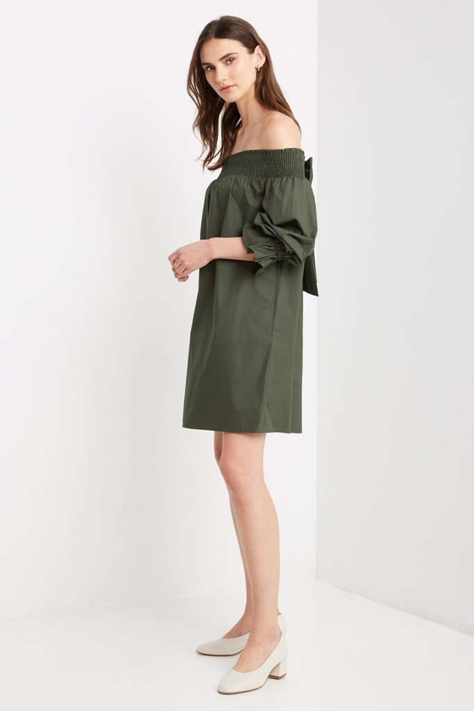 Poshsquare Dress XS / Olive Halston Off the Shoulder Shift Dress