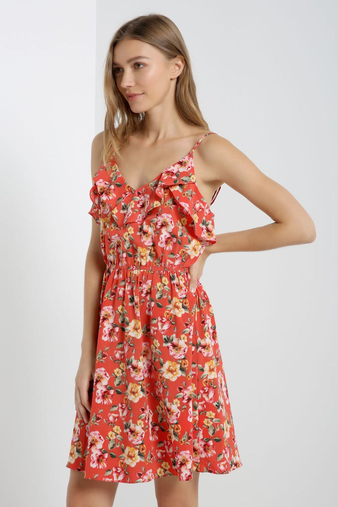 Poshsquare Dress XS / Red Floral Ruffle Trim Dress