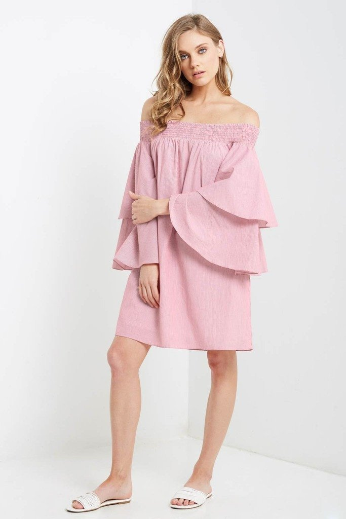 Poshsquare Dress Late Striped Off the Shoulder Shift Dress