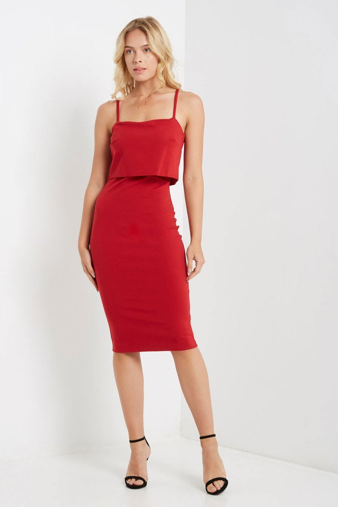 Poshsquare Dress XS / Red Portman Bodycon Dress