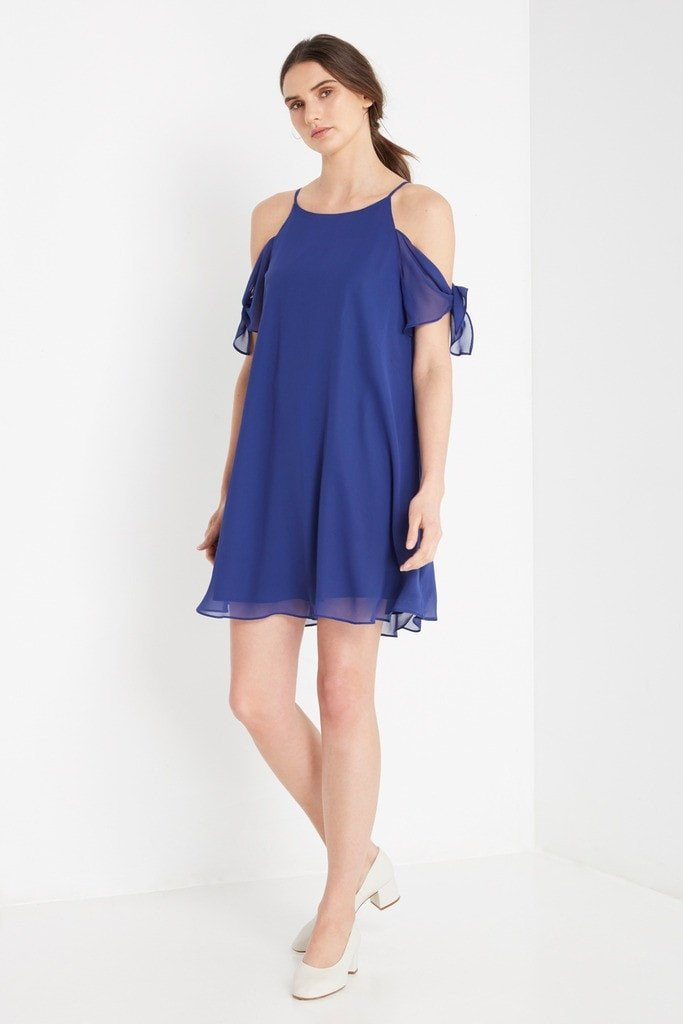 Poshsquare Dress XS / Royal Blue Madalyn Cold Shoulder Swing Dress