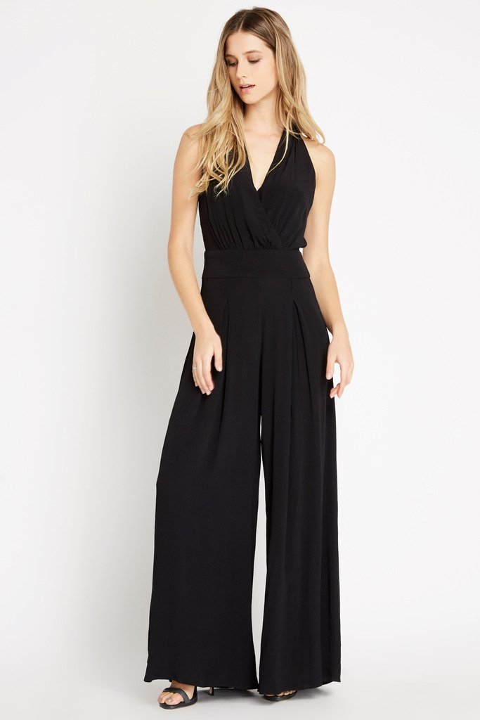Poshsquare Jumpsuit S / Black Bold Beauty Surplice Palazzo Jumpsuit