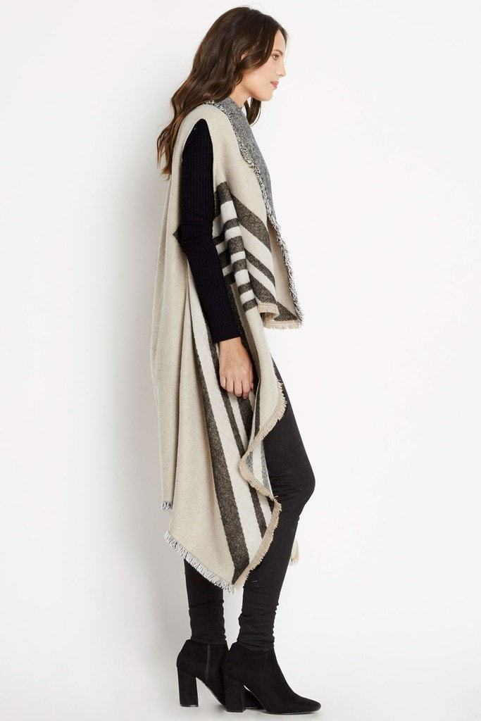 Poshsquare Outerwear Grove Longline Striped Poncho