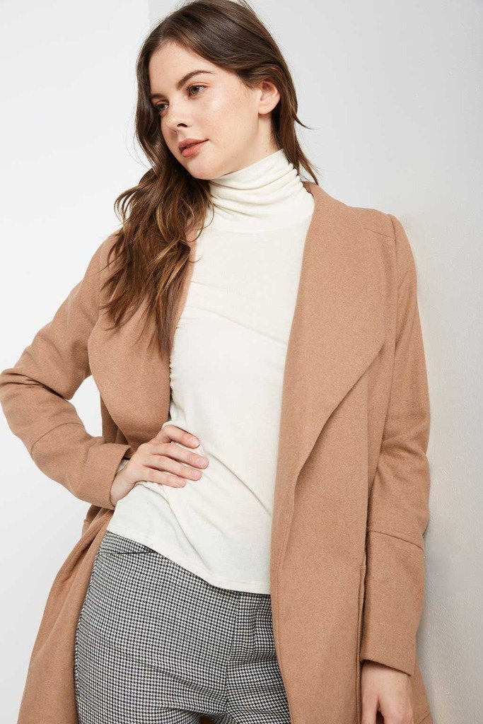 Poshsquare Outerwear M / Camel Front Page Wool Blend Trench Coat