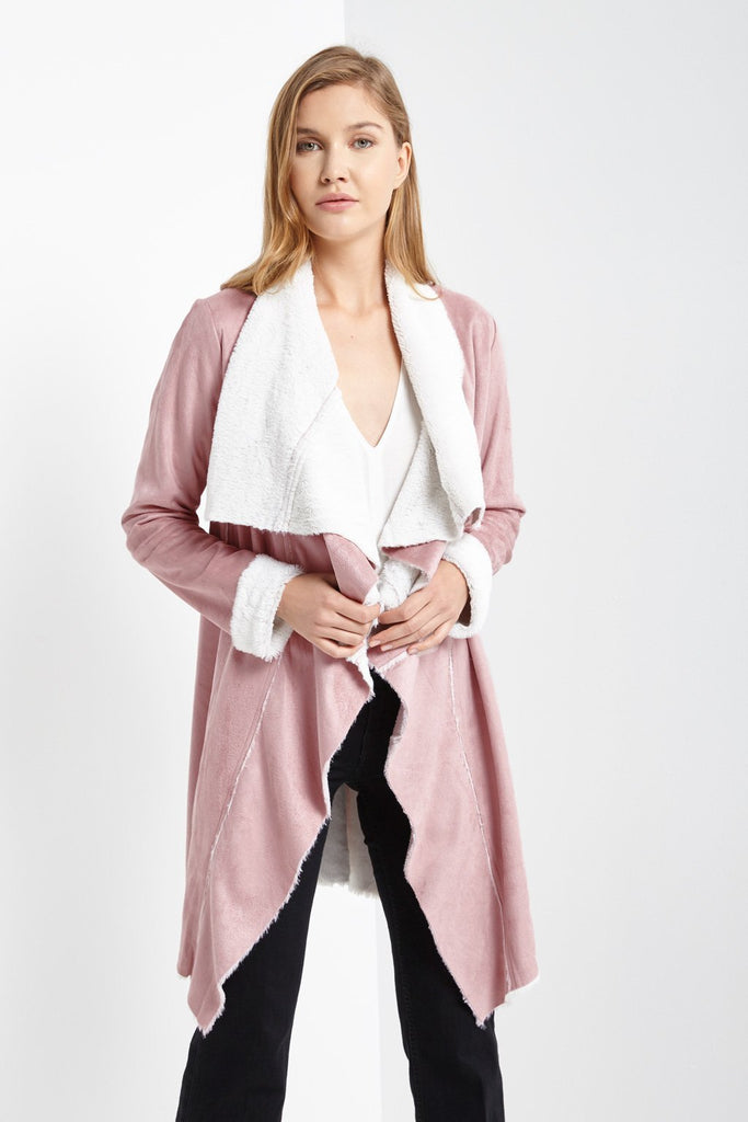 Poshsquare Outerwear M / Dusty Pink Lane Faux Suede Jacket