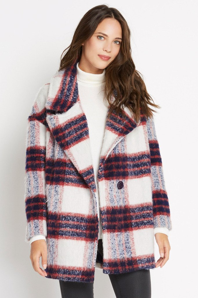 Poshsquare Outerwear M / Multi Plaid Plaid Priorities Wool Blend Coat