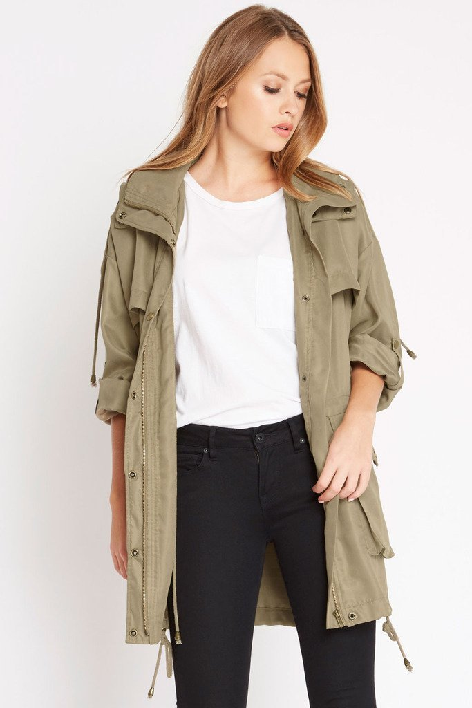 Poshsquare Outerwear M / Olive Class Rank Utility Drawstring Cargo Jacket