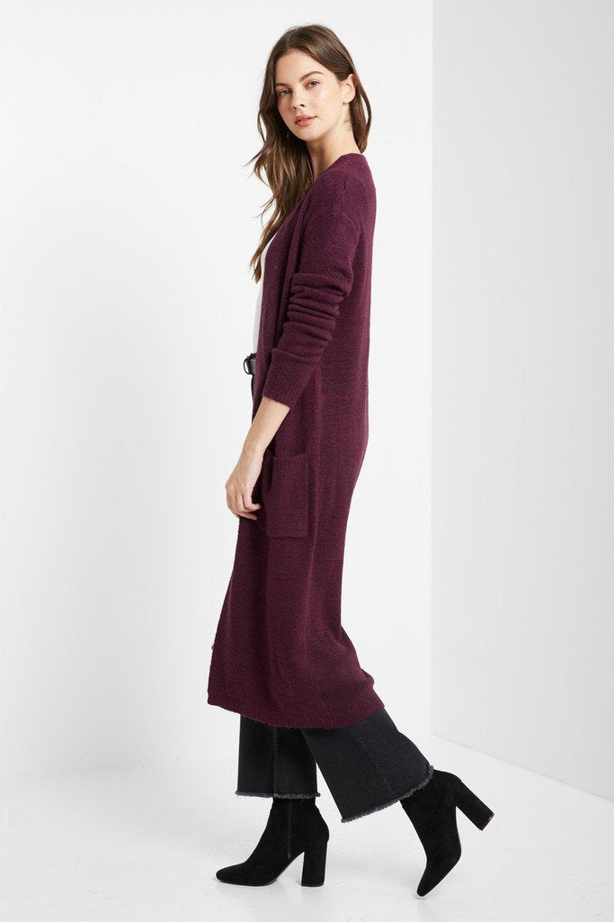 Poshsquare Outerwear Plum Gonia Long Sleeve Maxi Cardigan