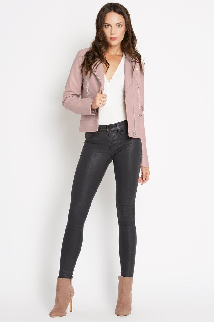 Poshsquare Outerwear S / Blush No Boundaries Faux Leather Jacket