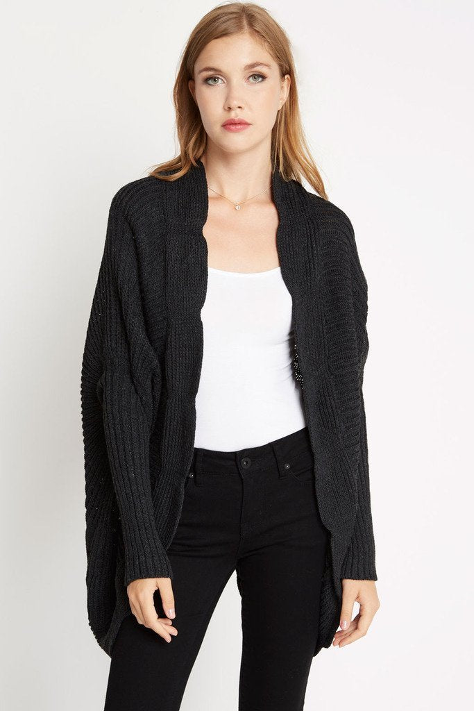 Poshsquare Outerwear S / Charcoal Off Duty Dolman Sweater Cardigan