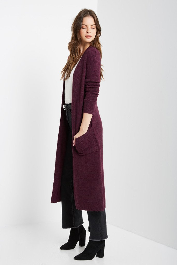 Poshsquare Outerwear S/M / Plum Plum Gonia Long Sleeve Maxi Cardigan