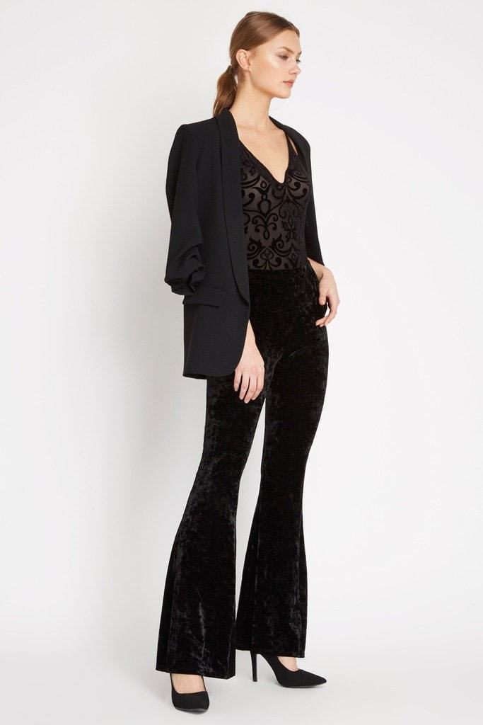 Poshsquare Pants S / Black Crushed Velvet High Waisted Bell Bottom Pants