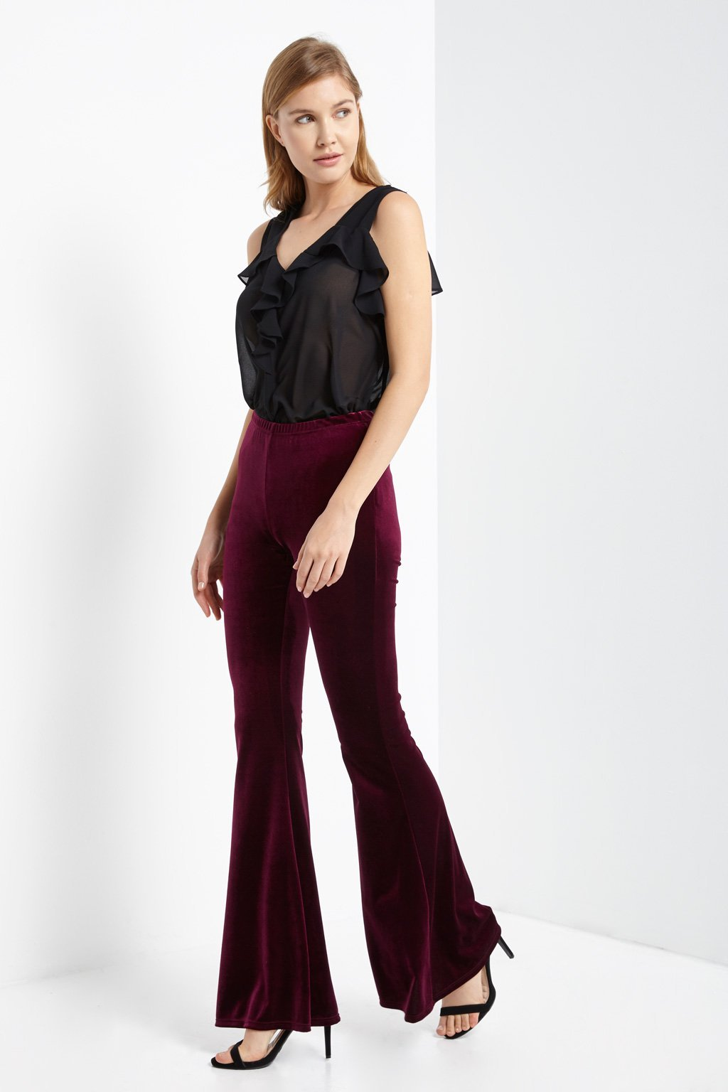 Poshsquare Pants M / Burgundy Velvet High Waisted Bell Bottom Pants