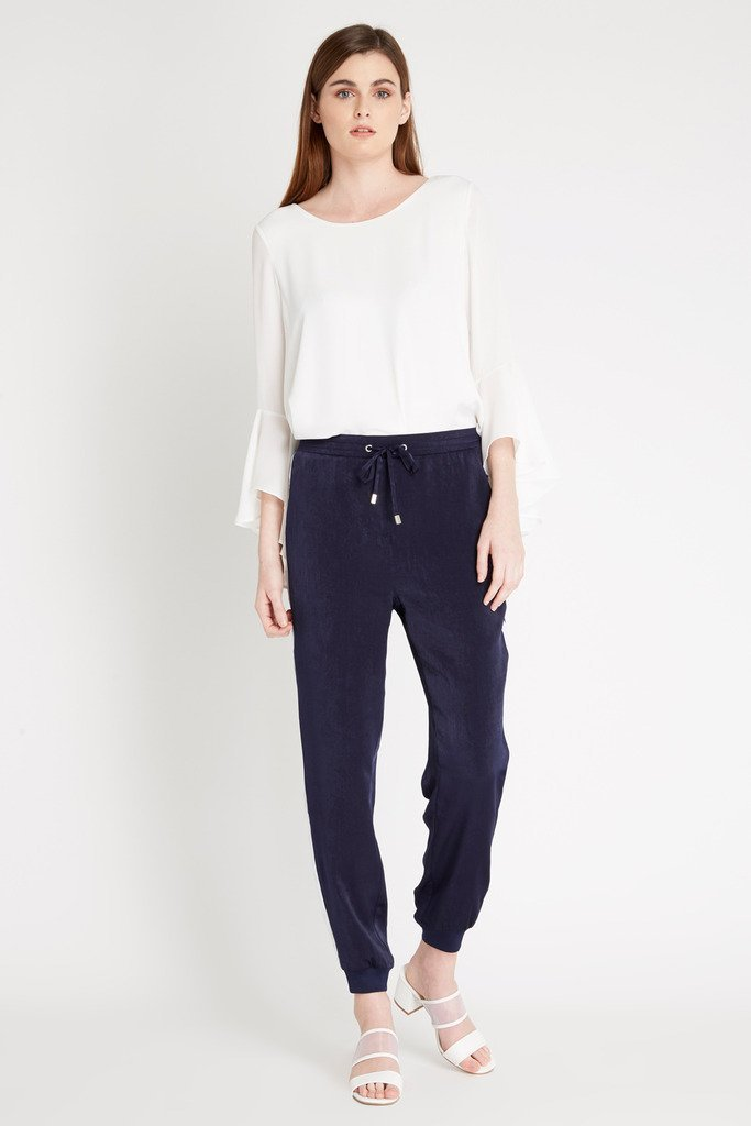 Poshsquare Pants M / Navy Varsity Stripe Satin Harem Pants