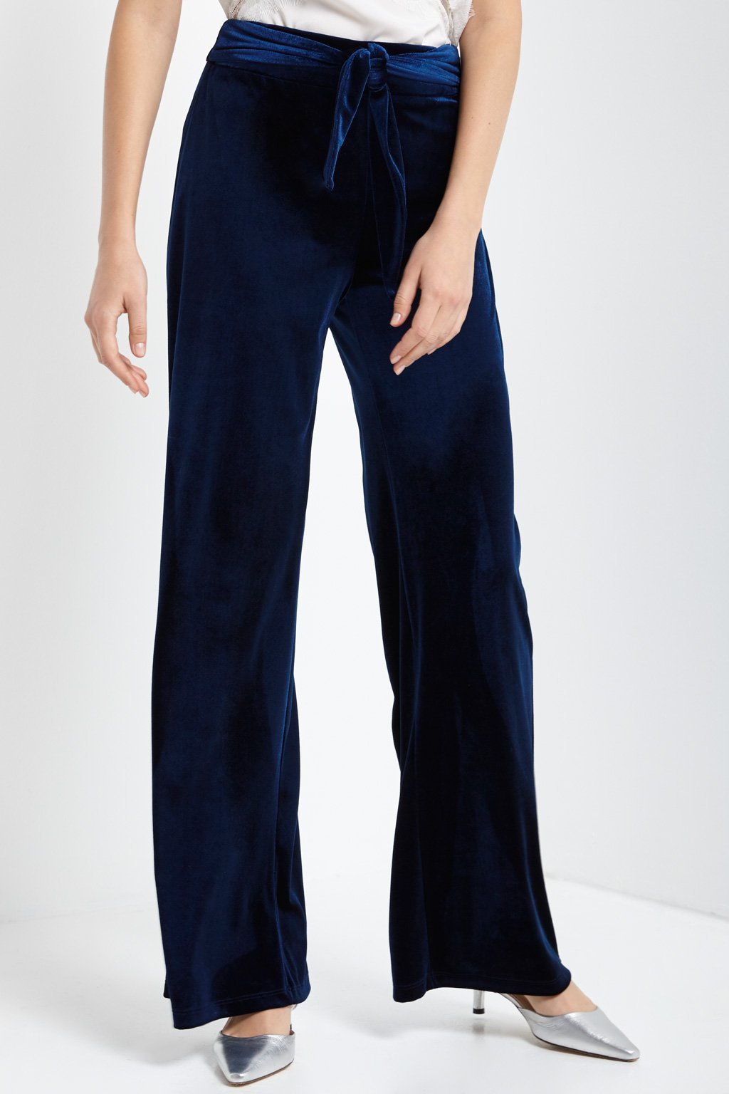 Poshsquare Pants S / Navy Tie Front High Waisted Velvet Pants