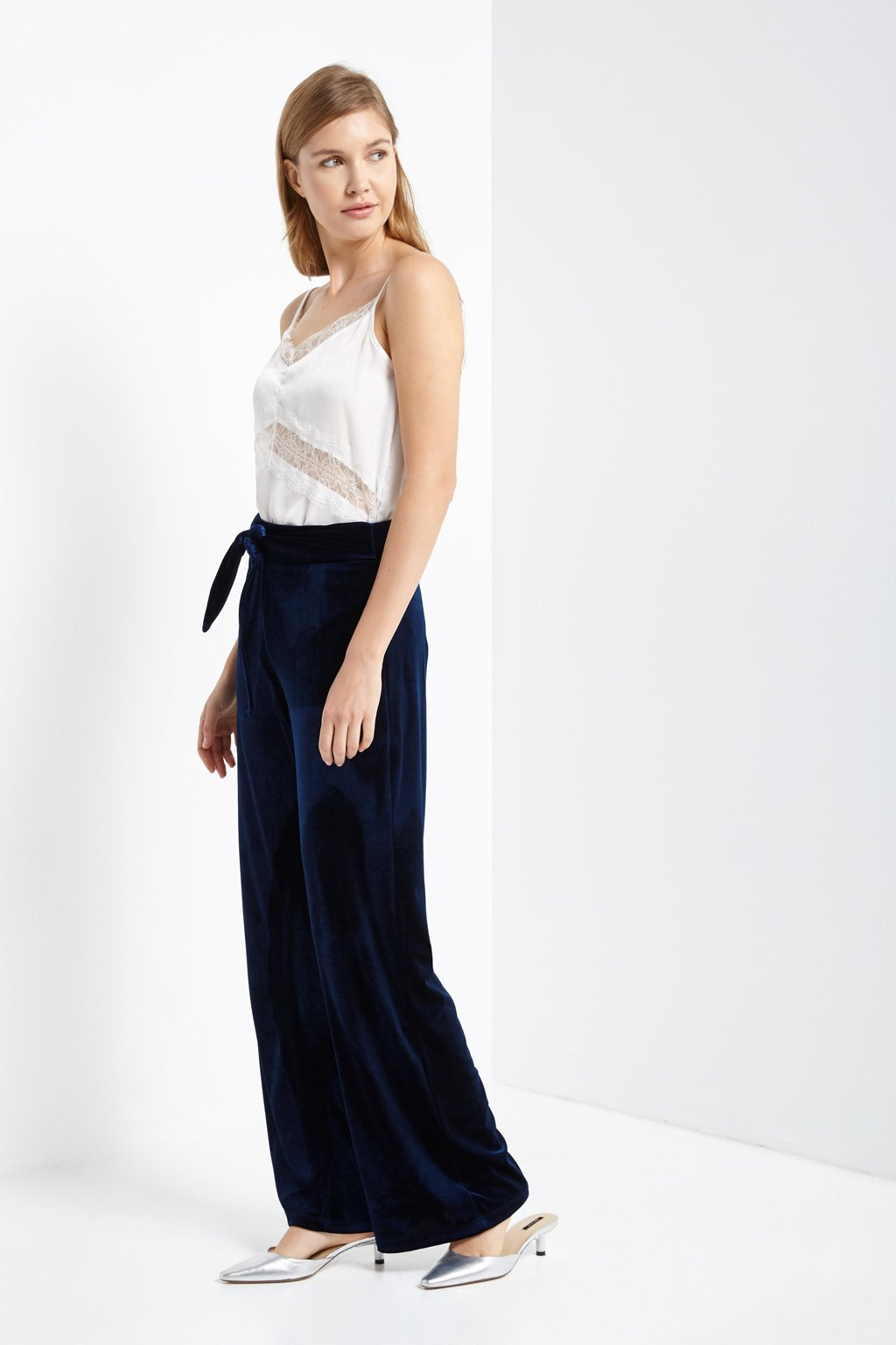 Poshsquare Pants Tie Front High Waisted Velvet Pants