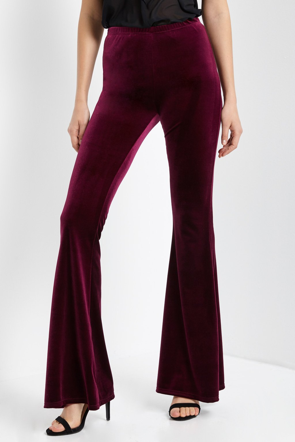 Poshsquare Pants Velvet High Waisted Bell Bottom Pants