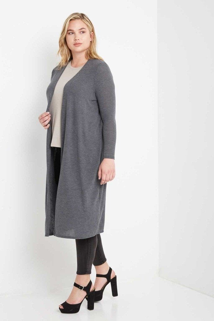 Poshsquare Plus 1XL/2XL / Charcoal Day Ribbed Longline Cardigan Plus Size