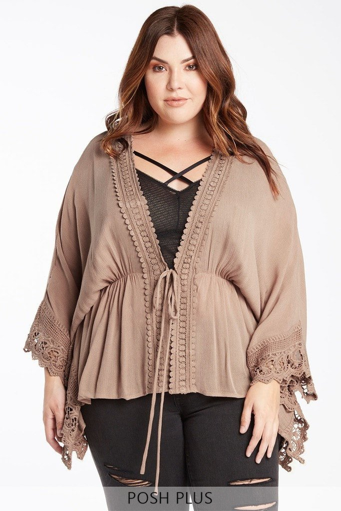 Poshsquare Plus 1XL/2XL / Mocha Festival Love Crochet Trimmed Coverup Plus Size