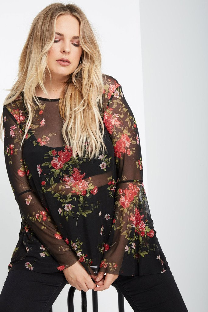 Poshsquare Plus 1XL / Black Emory Floral Bell Sleeve Top Plus Size