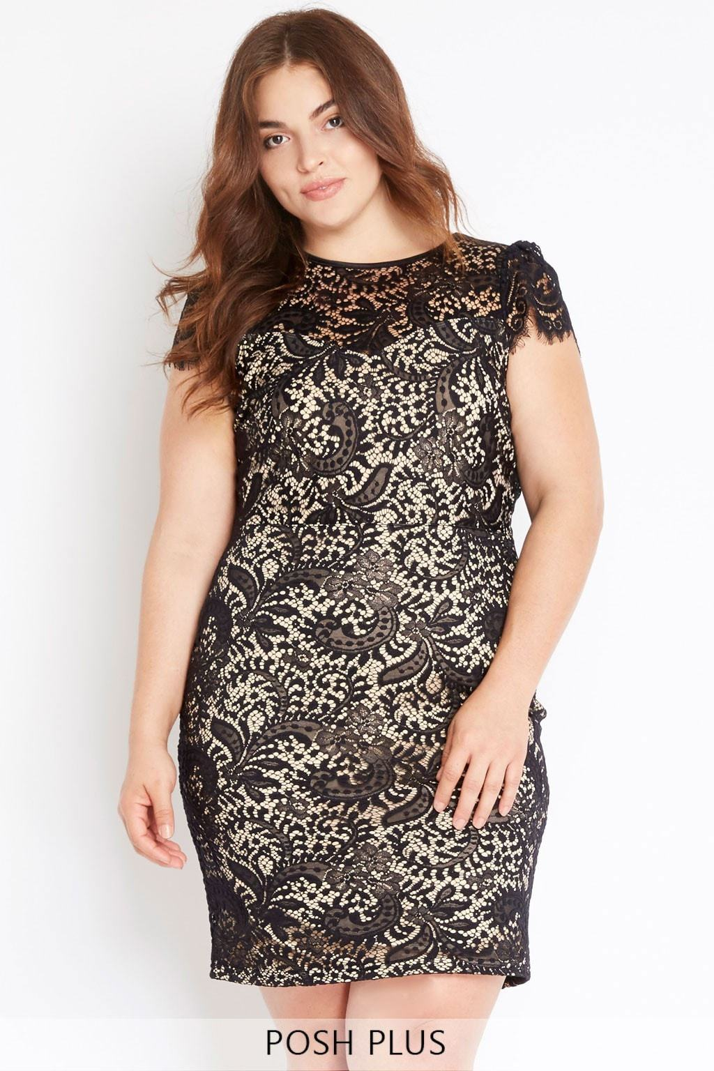 Poshsquare Plus 1XL / Black Eyelash Lace Dress Plus Size