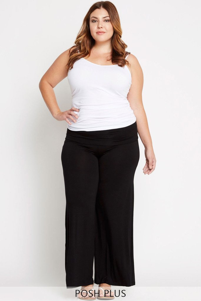 Poshsquare Plus 1XL / Black Feeling Content Palazzo Pants Plus Size