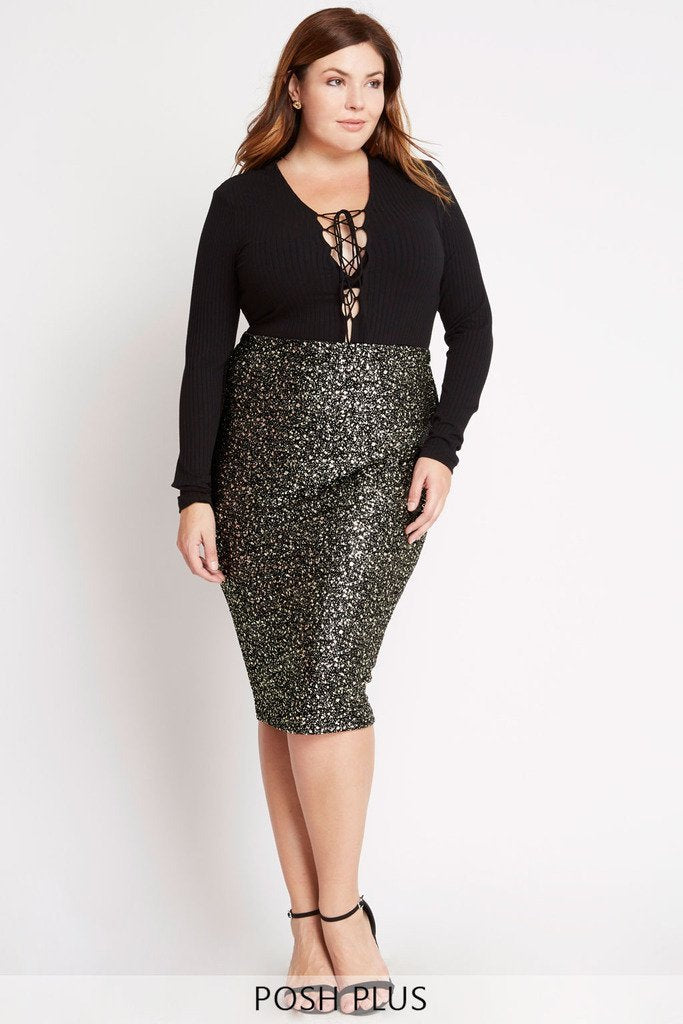 Poshsquare Plus 1XL / Black Flaunt and Center Metallic Midi Skirt Plus Size