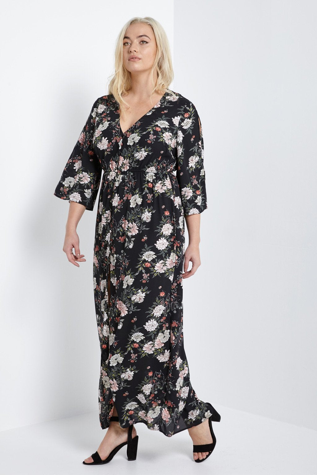 Poshsquare Plus 1XL / Black Floral Button-Down Maxi Dress Plus Size