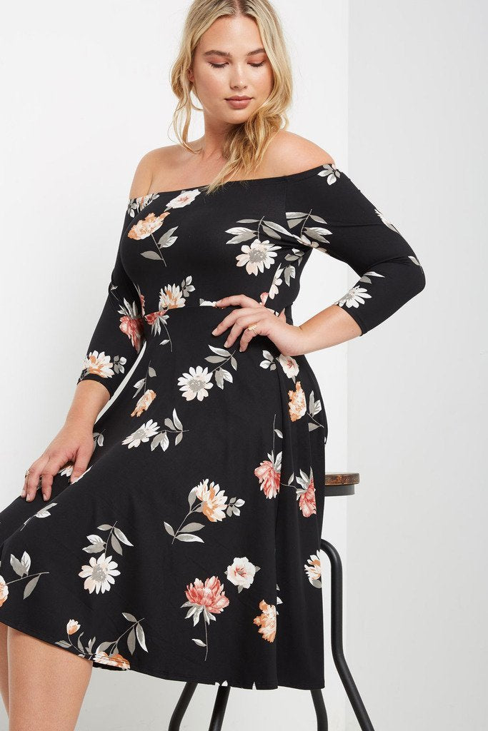 Poshsquare Plus 1XL / Black Floral Maury Floral Off the Shoulder Fit and Flare Dress