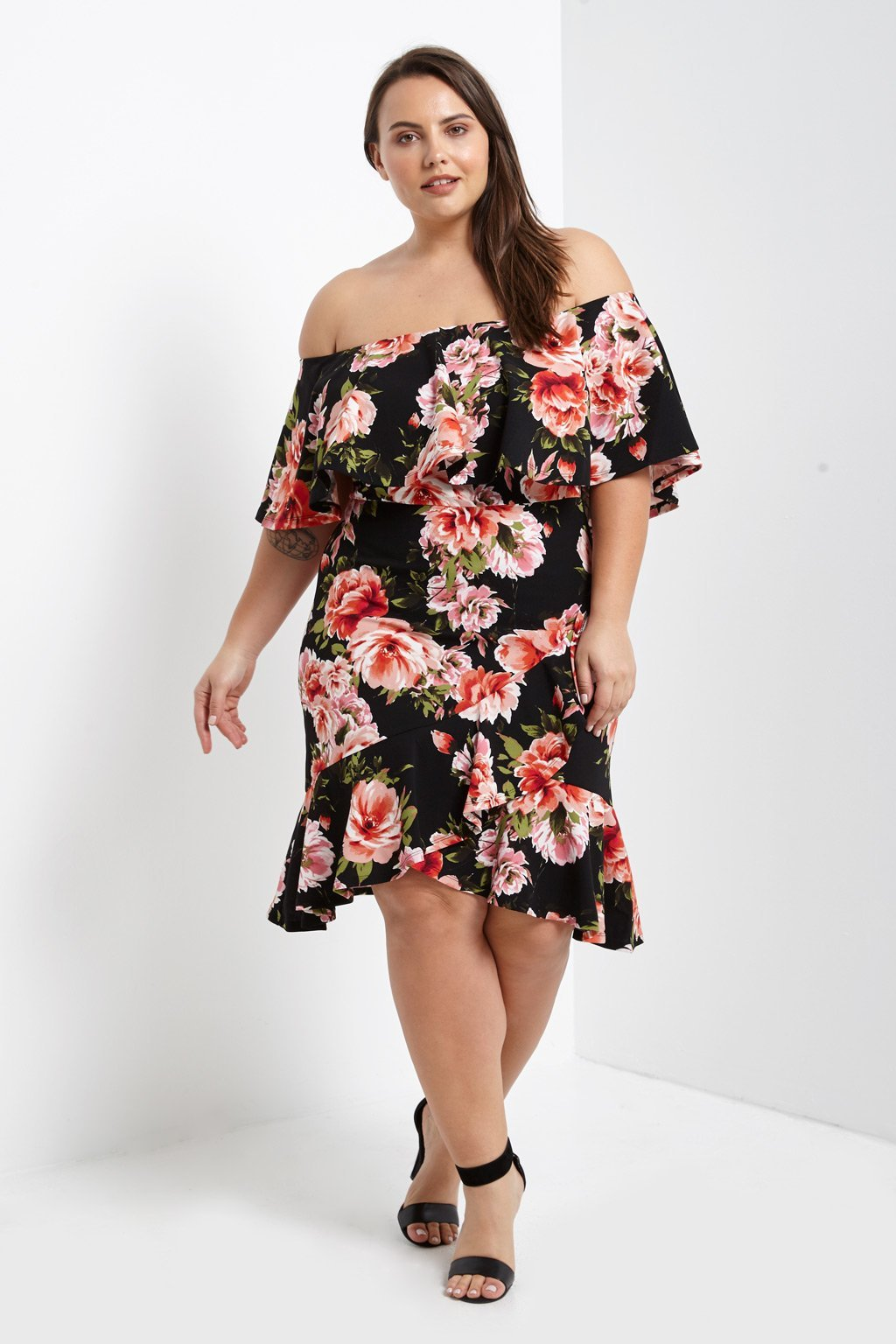 Floral Off The Shoulder Ruffle Dress Plus Size