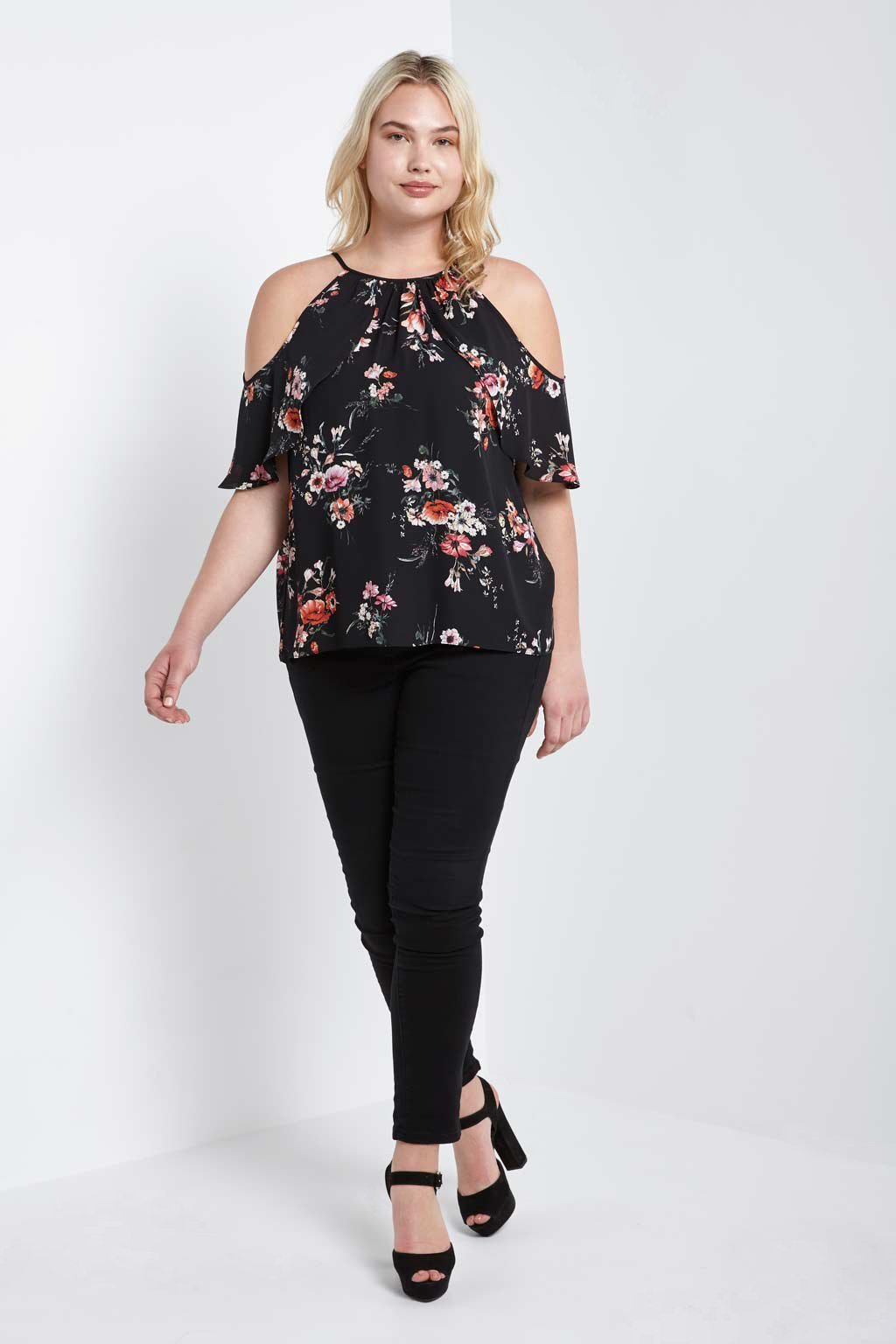 Poshsquare Plus 1XL / Black Floral Open Shoulder Top Plus Size