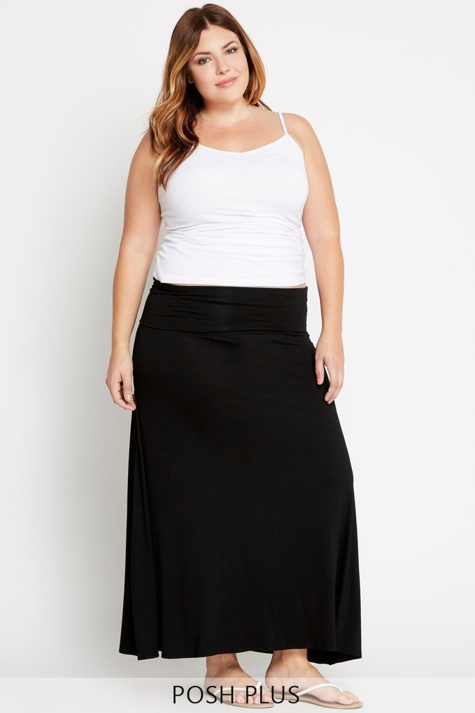 Poshsquare Plus 1XL / Black Foldover Waist Maxi Skirt Plus Size