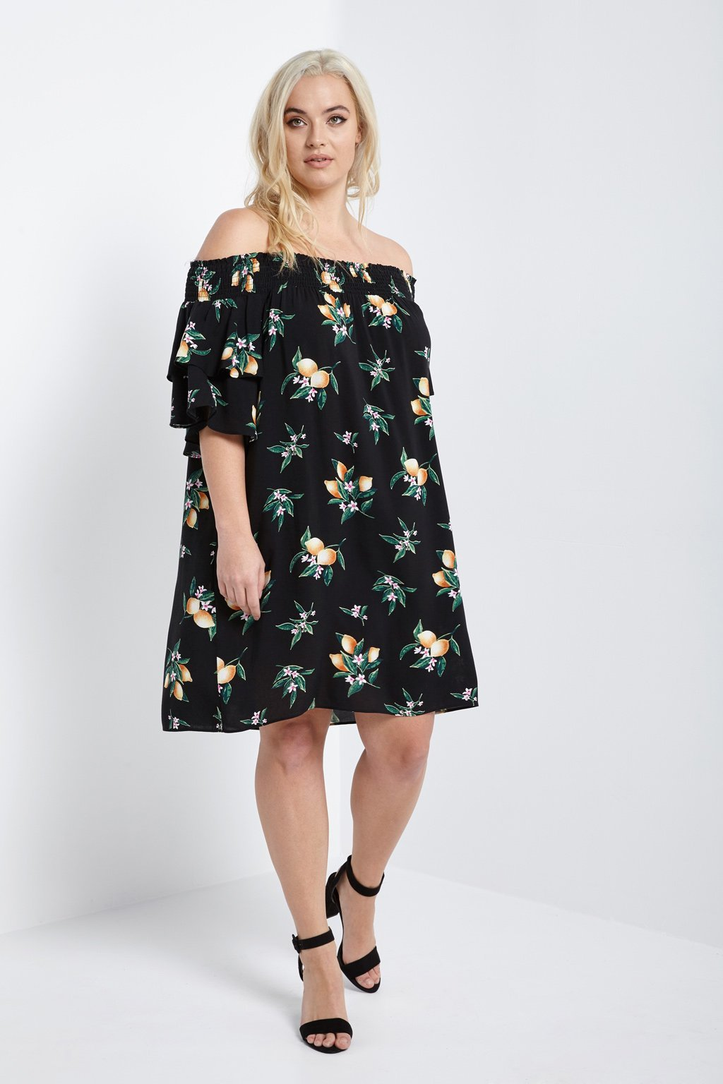 Poshsquare Plus 1XL / Black Lemon Floral Off the Shoulder Dress Plus Size