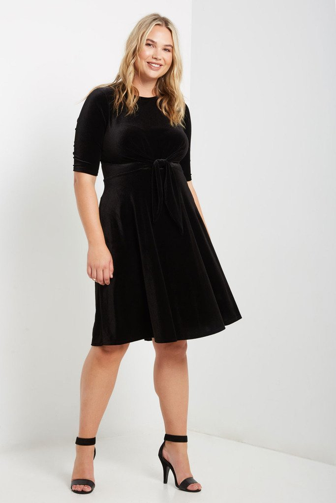 Poshsquare Plus 1XL / Black Mara Velvet Fit and Flare Dress Plus Size