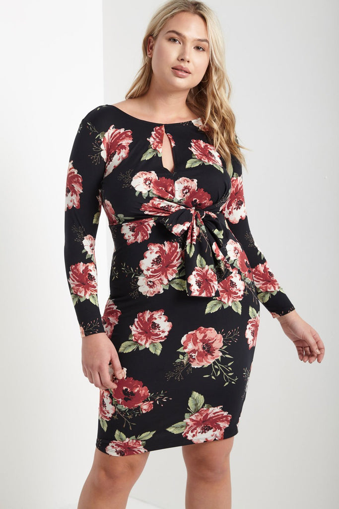 Poshsquare Plus 1XL / Black Mina Floral Bodycon Dress Plus Size