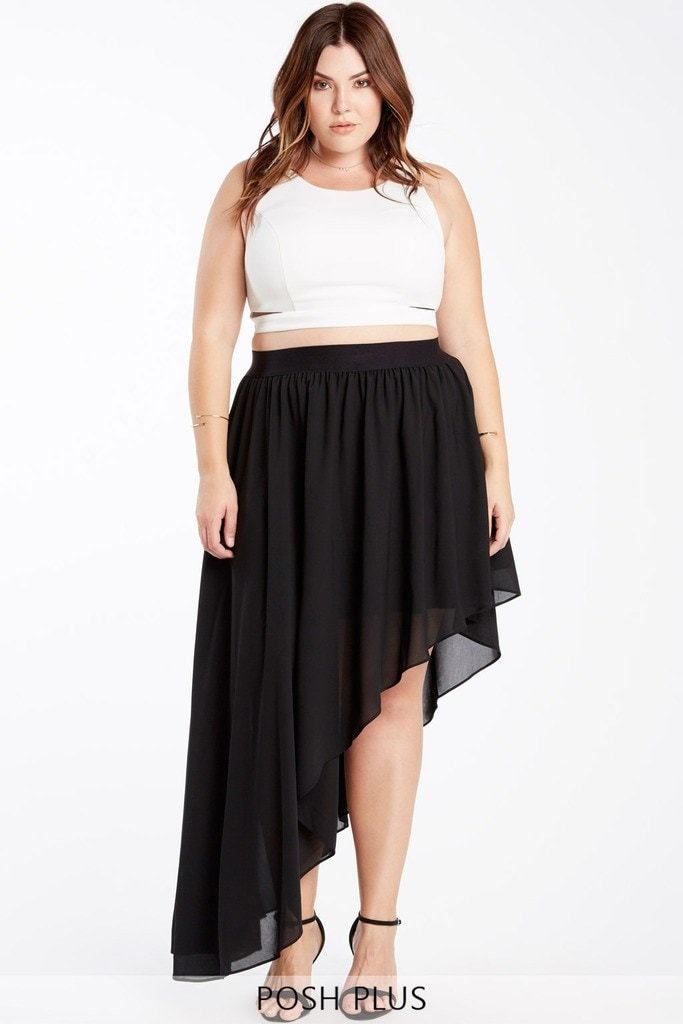 Poshsquare Plus 1XL / Black Prim Rose Asymetrical Skirt Plus Size