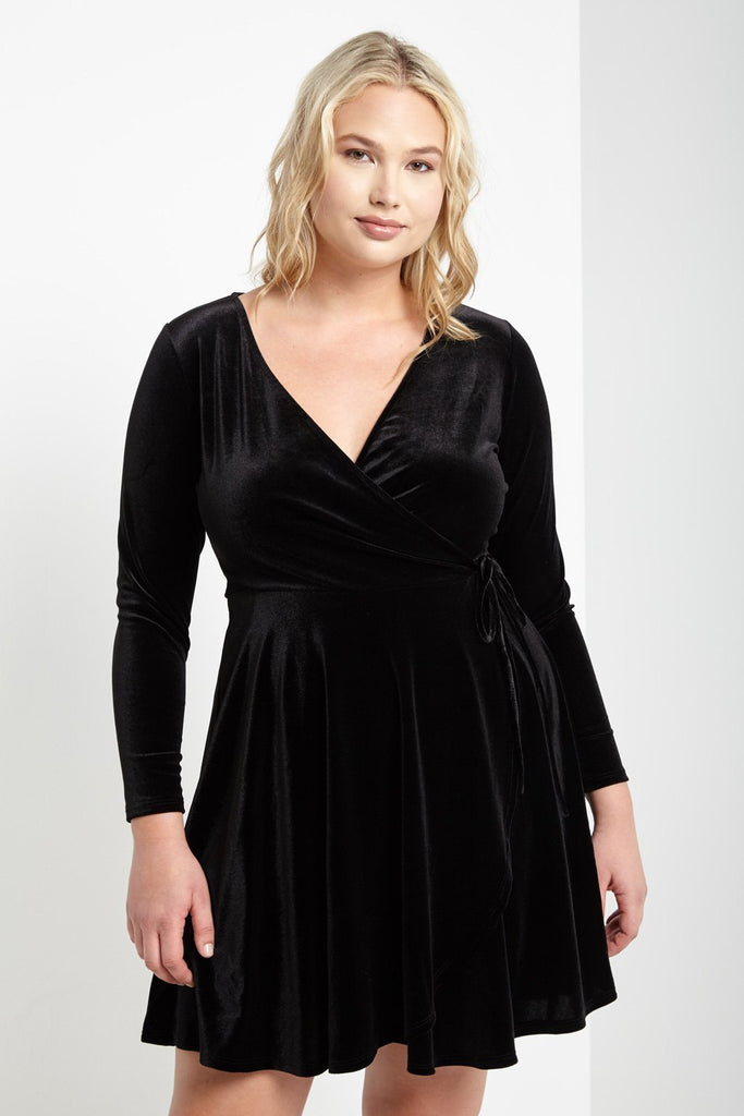 Poshsquare Plus 1XL / Black Velvet Mock Wrap Dress Plus Size